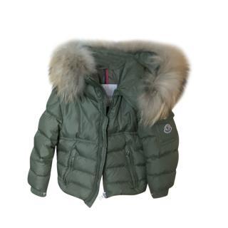 Moncler Khaki Fur Trim Puffer Coat
