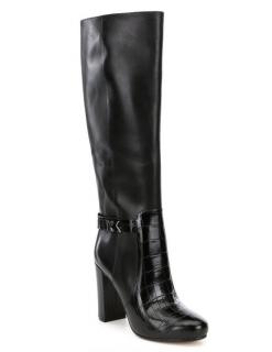 Michael Kors Julianna Black Leather Knee Boots