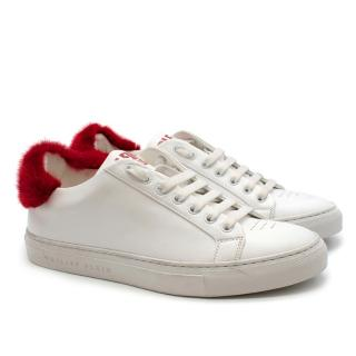 Philipp Plein White Leather Sneakers with Red Fur Detail
