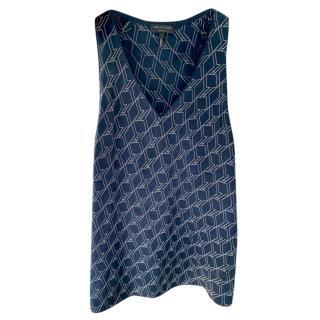 Rag & Bone Navy Printed Sleeveless Top
