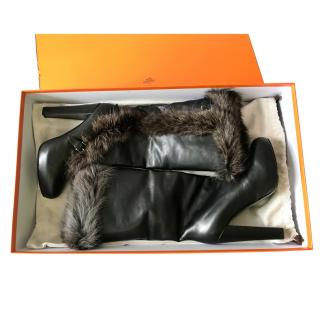 Hermes black leather and dark brown fox fur trim knew boots