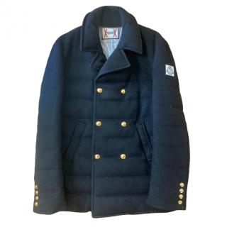Moncler Blue Cashmere Down Double Breasted Jacket