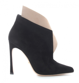 Sergio Rossi Bi-Colour Suede Ruffle Ankle Boots