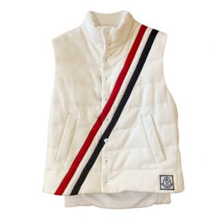 Moncler white quilted cashmere/ wool blend vest/gilet