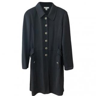 St John black 3/4 length gold SJ button detail coat