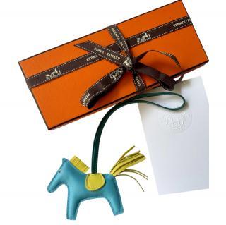 Hermes lime/celeste/malachite rodeo PM milo Bag Charm