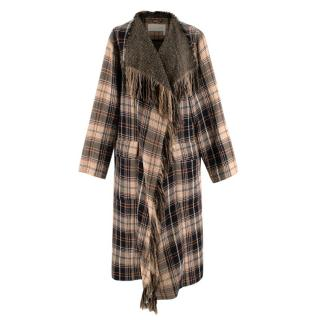 Chloe Beige and Brown Checked Fringe Detail Coat