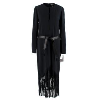 Tom Ford Black Long Fringed Dress with Leather Belt