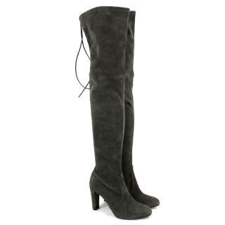 Stuart Weitzman Grey Suede Thigh High Heeled Boots