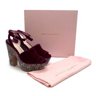 Sophia Webster Havisham Pink Velvet Wedge Platform Sandals