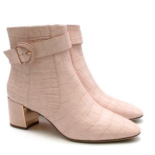 Sophia Webster Pink Croc Embossed Tutti 60 Ankle Boots