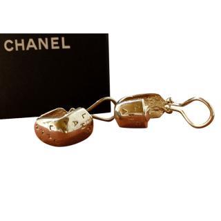 Chanel Sterling Silver Logo Clip-On Earrings