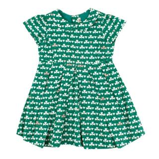 Bonpoint Green and White Clover Pattern Dress