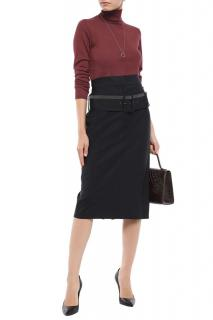 Brunello Cucinelli Anthracite Wool Blend High Waist Skirt