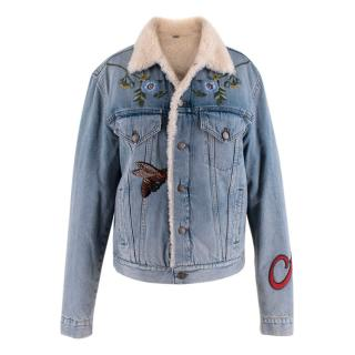 Gucci Shearling-Lined Embroidered Denim Jacket