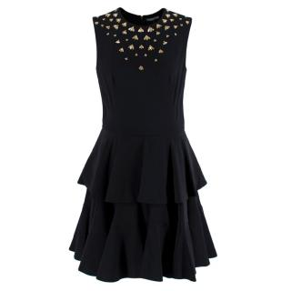 Alexander McQueen Black Bee Embellished Tiered Dress