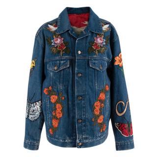 Gucci Embroidered Silk Lined Oversize Denim Jacket