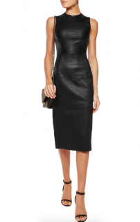 Iris & Ink Black Leather Sleeveless Midi Dress