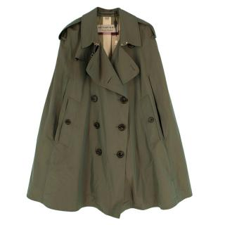 Burberry Khaki Double Breasted Cotton Trench Cape