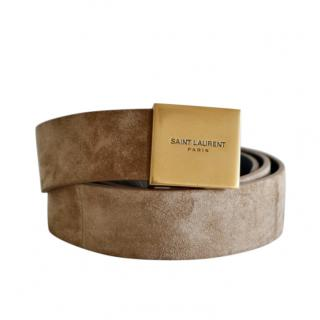 Saint Laurent Taupe Suede Belt