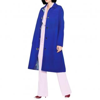 Emilio Pucci Blue Wool Embellished Button Longline Coat