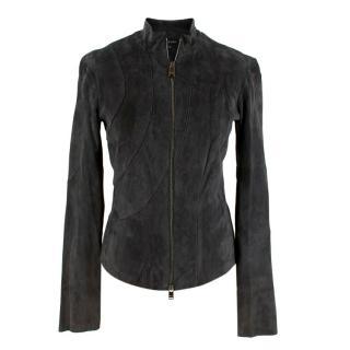 Jitrois 'Anya' Grey Suede Zipped Jacket