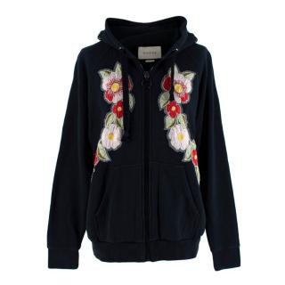 Gucci Black Floral Embroidered Zip-Up Hoodie