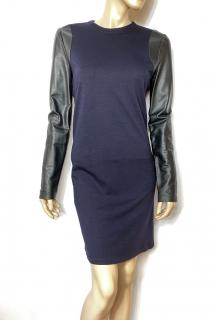 Balenciaga navy and black leather sleeved dress