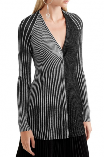 Proenza Schouler Metallic Striped Contrast Ribbed-Knit Top