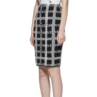 Versace Black & White Knit Logo Grid Skirt