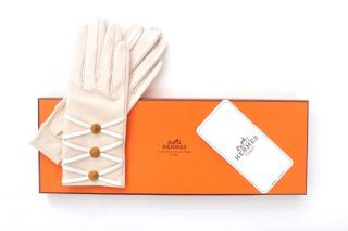Hermes Lace-Up Beige Leather Gloves