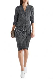 Veronica Beard Ruched striped cotton-poplin dress