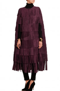 Burberry Burgundy Suede Fringed Cape