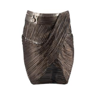 Anthony Vaccarello Gold Silk blend Pleated Skirt