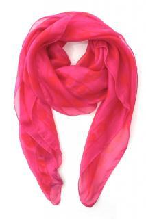 Alexander McQueen Pink Neon Silk Scarf