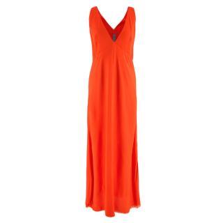 Raquel Allegra Orange Sleeveless Long Dress