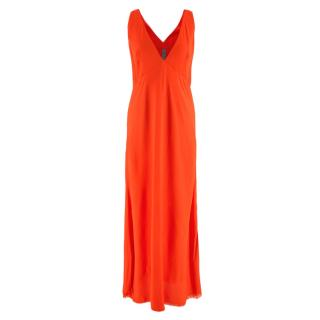 Raquel Allegra Orange Sleeveless Long Dress