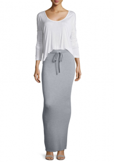 T by Alexander Wang Light Grey Ribbed-Knit Maxi Skirt