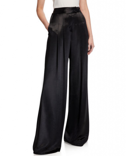 Forte Forte Black Satin Wide Leg Pants