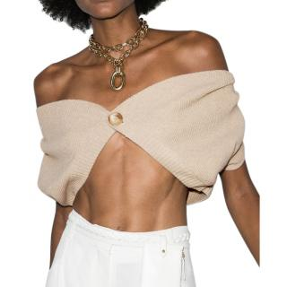 Jacquemus Valerie Wool Crop Off Shoulder Cardigan