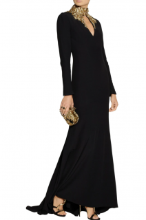 Alexander McQueen Black Gold Embellished Collar Cut-Out Gown