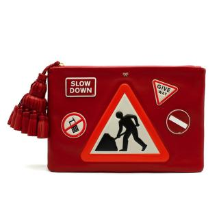 Anya Hindmarch Red Leather 'Men At Work' Clutch Bag