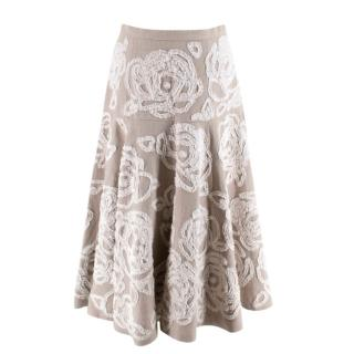 Michael Kors Collection Floral Embroidered Linen Skirt