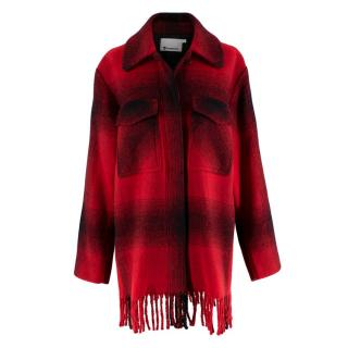 Alexander Wang Red & Black Checked Flannel Coat