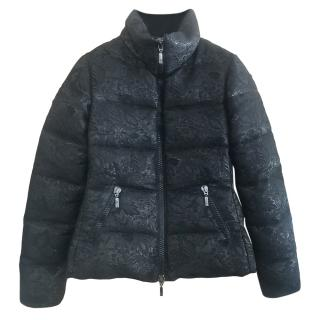 Moncler leaf print black padded goose down jacket with Grenoble zips