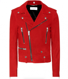 Saint Laurent red suede asymmetric biker jacket