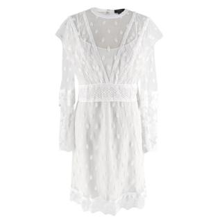 Burberry White Lace Overlay Dress