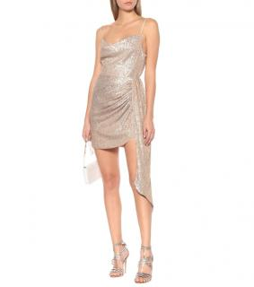 Jonathan Simkhai Champagne Sequin Embellished Asymmetric Mini Dress