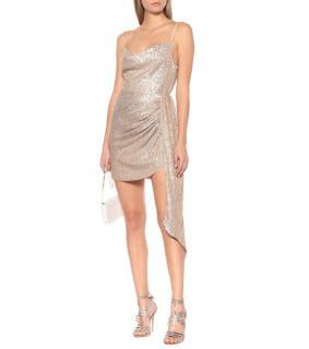 Jonathan Simkhai Champagne Sequin Embellished Asymmetric Mini Dress