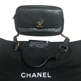 Chanel Black Stitch Quilted Leather Camera Bag/Waist Bag
